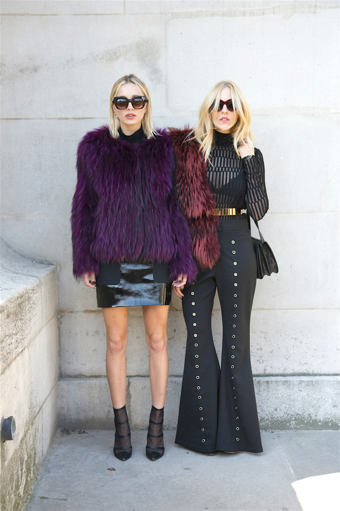 PARIS, FRANCE - OCTOBER 3: Singer Caroline Vreeland wears all Barbara Bui with Thierry Lasry sunglasses, with Fashion Stylist Shea Marie who wears a Thierry Mugler top and trousers, Barbara Bui fur, Celine sunglasses and Dior shoes on day 5 during Paris Fashion Week Spring/Summer 2016/17 on October 3, 2015 in London, England. (Photo by Kirstin Sinclair/Getty Images)