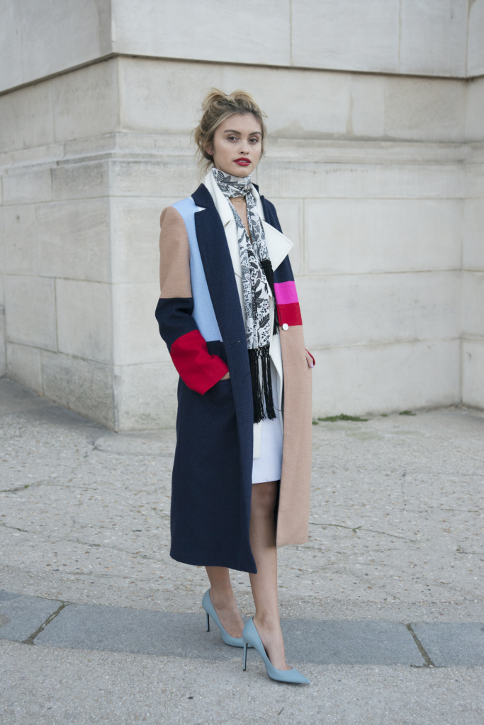 PARIS, FRANCE - MARCH 3: Actress and fashion blogger Sarah Ellen wears a dress and coat from Barbara Bui on day 3 during Paris Fashion Week Autumn/Winter 2016/17 on March 3, 2016 in Paris, France. (Photo by Kirstin Sinclair/Getty Images)